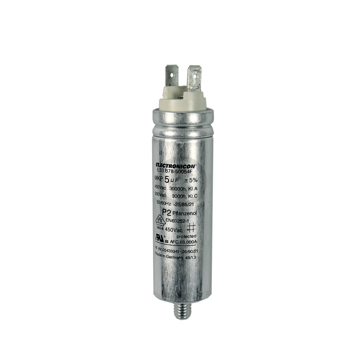 Kondensator 5,00µF 450V mit Steckfahnen 5433341 Miele